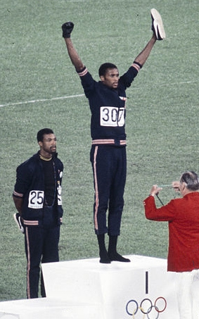 American sprinters Tommie Smith and John Carlos