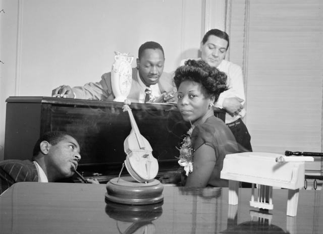 Dizzy Gillespie, Tadd Dameron, Mary Lou Williams, and Jack Teagarden, Mary Lou Williams' apartment, New York, N.Y., ca. Aug. 1947